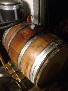 Wine barrel filled